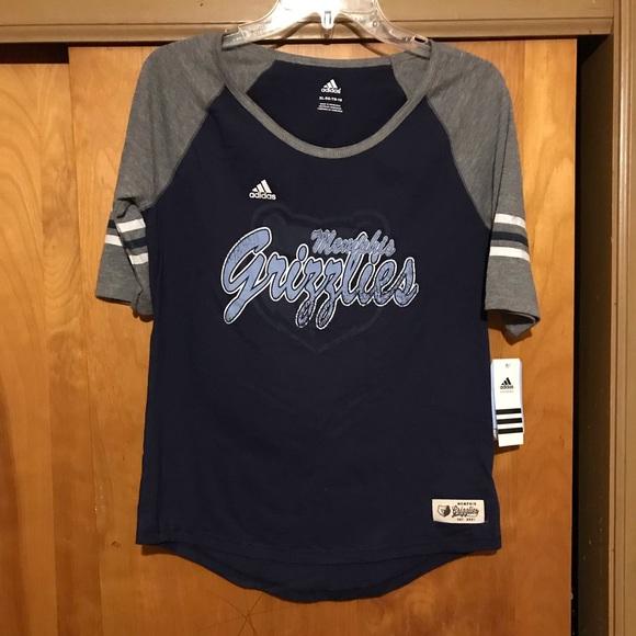 T XL GrayBlue NWT Adidas Memphis Shirt Grizzlies New DH9E2I